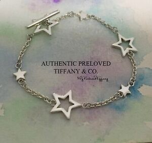 """Excellent Authentic Tiffany & Co. Star Lariat Toggle Bracelet Silver 7"""""""