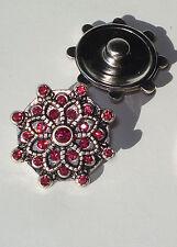 Fushia Pink Petal Snap Button Chunk Charm 18mm rhinestones antiqued silver tone