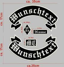 Rückenpatch Aufnäher Oben & Unten & Name & MC & Raute1% 5-TEILIG Mit Wunschtext