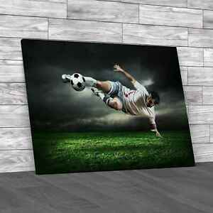 Football Player With Ball Canvas Print Large Picture Wall Art