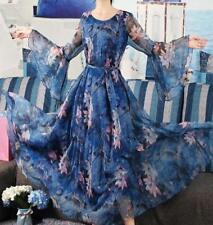 Ladies Fashion Chiffon Floral Long Trumpet Sleeves Maxi Dress Beach Ball Party