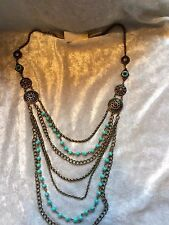 2028 1928 Turquoise Coral Color Brass Tone Multi Stand Marrakesh Necklace NWT