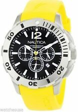 Nautica Mens Chronograph Stainless Steel Case Resin Strap Watch N16566G