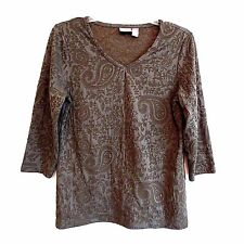 Chico's Shirt Army Green Knit Paisley Design  Size 0  NWOT #B45