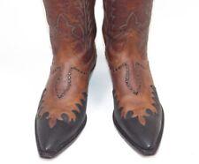 Tony Lama Classic Fire Walker Brown Cowboy Boots - Wmn's 8B Excellent Inlaid Vtg