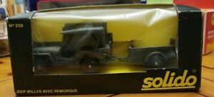 Vintage Solido 1/43 Jeep Willys with Trailer no. 256 Collectible Diecast