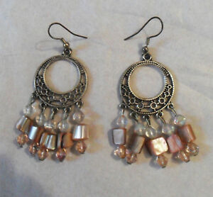 Ethnic French Pearly Pink Beads, Silver-Tone Dangle, Drop EARRINGS, Pierced Ears