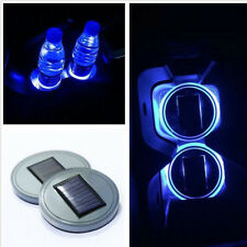 2X Solar Cup Holder Bottom Pad LED Light Cover Trim Atmosphere Lamp For Show car