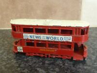 VINTAGE LESNEY MATCHBOX No.Y3 NEWS OF THE WORLD TRAMCAR BUS RED/WHITE ROOF