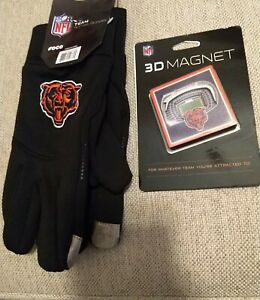 NFL CHICAGO BEARS Neoprene Adult Texting Gloves - New OSFA & 3D Stadium Magnet
