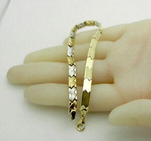 """Beautiful 10k Two Tone Gold Fancy Style Bracelet 4.4 grams 7.5"""" long"""