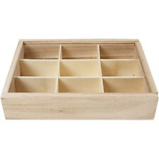 Small wood 9 compartment storage box with sliding Plexiglas lid WC454