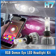 New H7 60W CREE COB LED Headlight Kit w/ RGB Demon Eye Bluetooth Control 2 in 1