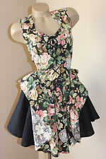 DOLLY! VINTAGE 80's FRENCH ROSES ROPE-UP PARTY DRESS 6