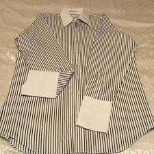 PAUL FREDRICK MENS STRIPED SHIRT FRENCH CUFFS SIZE 16 / 33 NEW WITHOUT TAGS