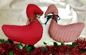 Vintage 70s-80s Handmade Christmas Duck Small Pillows - Houndstooth & Red Fabric