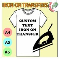 Personalised Custom Iron On T Shirt Transfer Quality Print Your Name Image Text