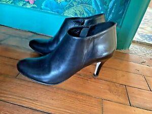 Ladies Jonak Paris Black Leather Stiletto Heel Ankle Boots Side Zip UK 7.5 EU 41