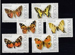 set of 6 mint Butterfly stamps from Poland