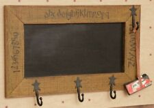 Country Farmhouse Wooden Chalkboard With Hooks