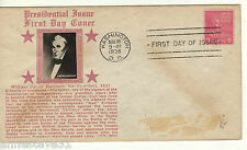 ALOVELY FDC FROM THE USA. 1938 PRESIDENTIAL ISSUE WITH HARRISON'S PICTURE & BIOG