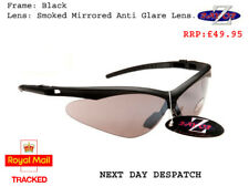 d1 RayZor Uv400 Black Framed Smoked Mirrored Lens Cricket wrap Sunglasses RRP£49