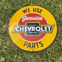 "VINTAGE ""CHEVROLET SERVICE GENUINE PARTS"" PORCELAIN METAL GAS AND OIL PUMP SIGN!"