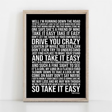 More details for eagles take it easy song lyrics poster print wall art