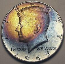 1965-P USA KENNEDY HALF DOLLAR SILVER BU CHOICE FLAWLESS UNC COLOR TONED (DR)