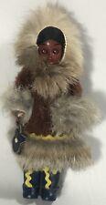 "Vintage Native American Indian Eskimo, Plastic Doll, Leather Dress 6"" Gift"