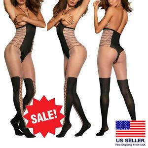 Black/Beige Deep V Faux Thong Thigh High Stretch Halter Bodystocking Lingerie OS