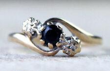 Vintage 9ct Gold Sapphire Ring Diamond Engagement Wedding Size M.5 / 6.5