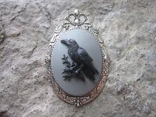 2 IN 1 RAVEN, BLACK BIRD, CROW CAMEO - BROOCH / PIN / PENDANT - GOTH, HALLOWEEN