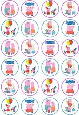 24 Peppa Pig Cupcake Fairy Cake Toppers Edible Rice Wafer Paper Decorations