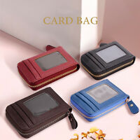 Men Women Wallet PU Leather Purse Credit Card Holder RFID Blocking Zipper