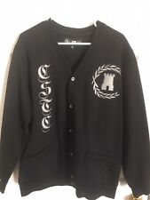 Rare! Crooks and Castles Embroidered Black Cardigan Sweater! Size X-Large!
