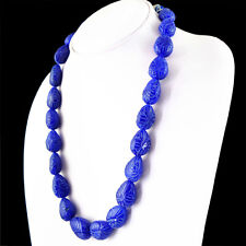 570.00 CTS EARTH MINED BLUE SAPPHIRE PEAR SHAPE CARVED BEADS HAND MADE NECKLACE