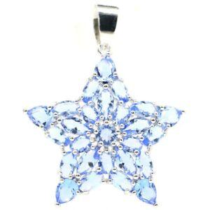 Romantic Star Shape Rich Blue Violet Tanzanite Gift For Girls Silver Pendant