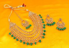 Indian Necklace Jewelry Gold Plated Bollywood Wedding Fashion Bridal Earring Set