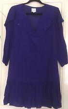 REISS Royal Blue Tunic Dress/Straight Dress/Lined/UK 10/Frill Hem/Long Sleeves