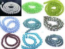 FACETTIERTE Glasperlen 6x4mm Rondelle Glas Farbwahl klar blau grün silber