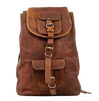 """Mens Genuine Leather Vintage 16"""" Laptop Backpack Rucksack Messenger Bag Satchel"""