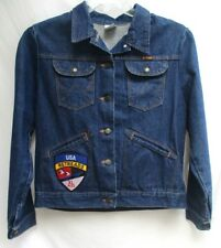 VTG..WRANGLER..UNION MADE USA..DENIM..TRUCKER..JACKET..w MOTORCYCLE TOUR PATCH M