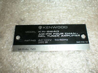 OEM Original Kenwood Back Logo Label ONLY For KR-8840 Receiver