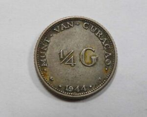 Curacao Netherlands Queen Wilhelmina Silver ¼ Gulden 1944 SCARCE