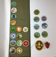 Vintage Boy Scout of America Badges BSA Patches, Sash and Slide
