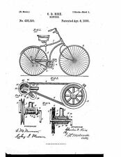 C.D. RICE - BICYCLE Design  - Copy of Patent dated 1890