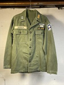 US Army Sateen OG-107 Utility Shirt OD Green White Tab Veteran Mobilia Airborne