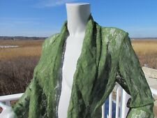 NEW M The Pyramid Collection green floral lace jacket coat top handkerchief hem
