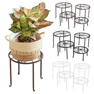 Round Metal Iron Flower Pot Rack 4Pc Plant Pot Stand Holder Balcony Garden Decor
